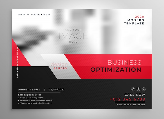 Professional red business brochure presentation template Free Vector