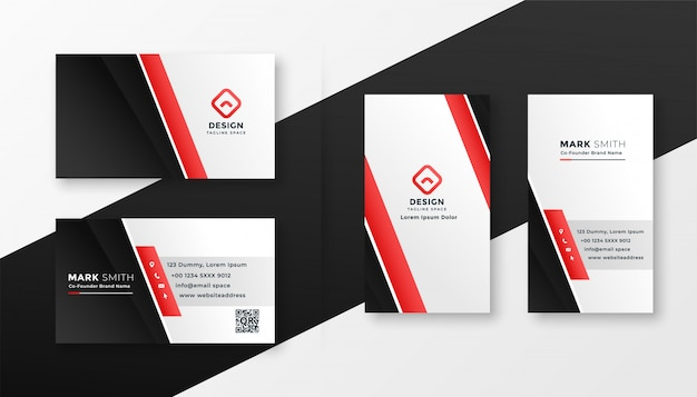 Professional red business card design Free Vector