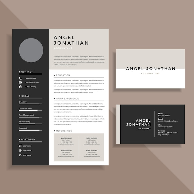 Professional Resume CV and Business Card Template Design Set Vector ...