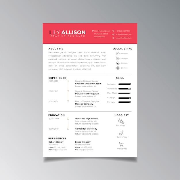 Professional Resume Design Template Minimalist. Business