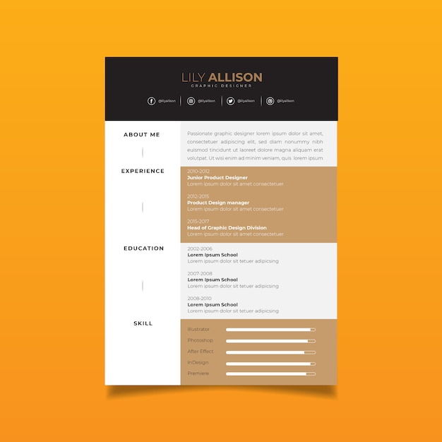 Professional resume design template with minimalist style Premium Vector