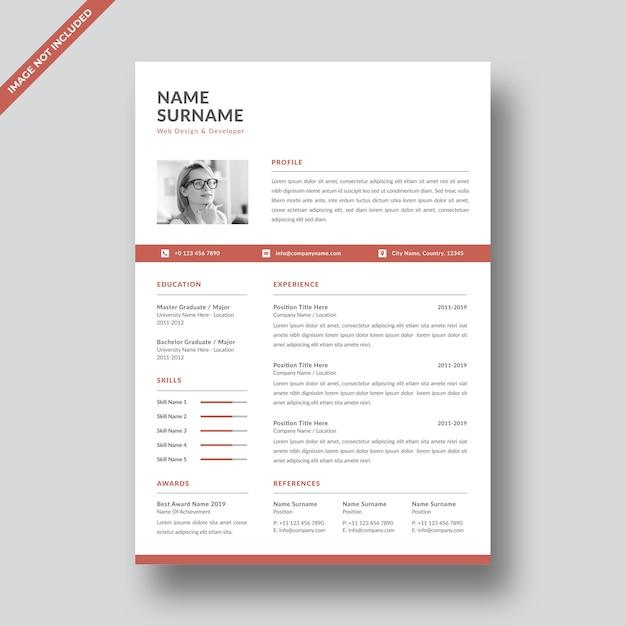 Professional resume template   design Premium Vector