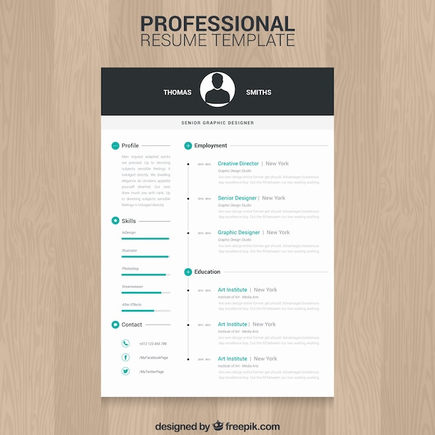 Photo Resume Templates Professional Cv Formats: Professional Resume Template Vector