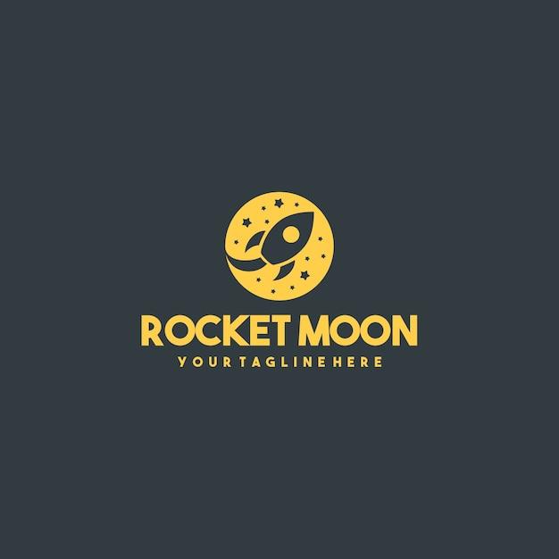 Professional rocket moon logo Premium Vector