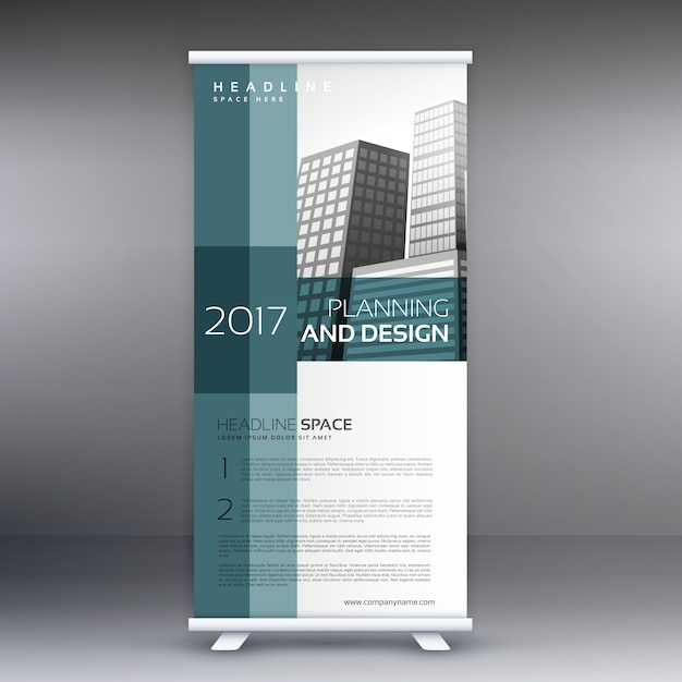Professional roll up standee banner vector design template Free Vector