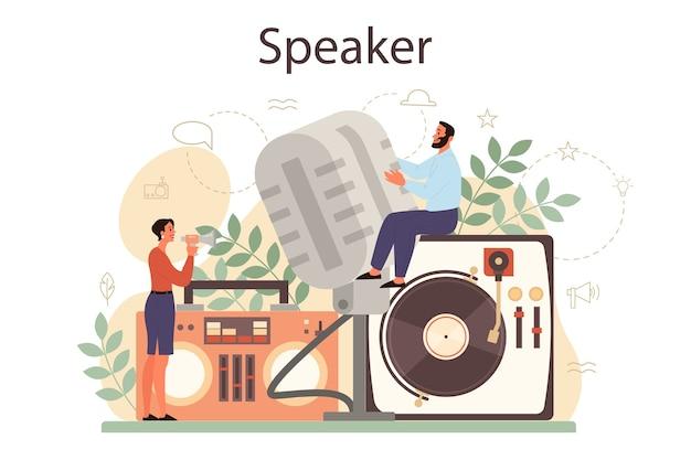 Концепция профессионального оратора, комментатора или голосового актера. песон говорит в микрофон. радиовещание или публичный адрес. спикер бизнес-семинара. Premium векторы