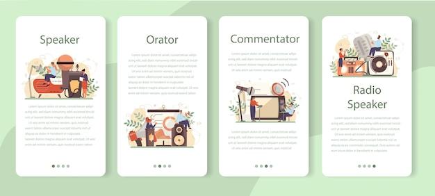 Professional speaker, commentator or voice actor mobile application banner set Premium Vector