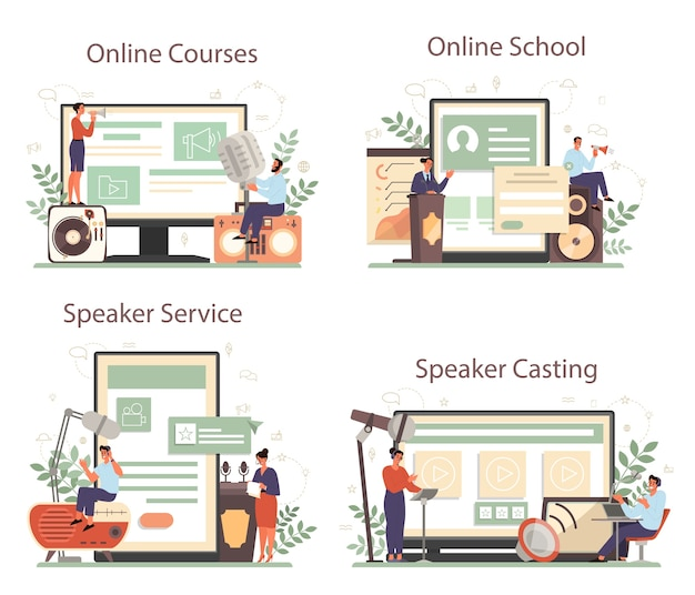 Professional speaker, commentator or voice actor online service or platform set Premium Vector