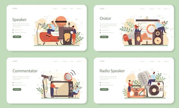 Professional speaker, commentator or voice actor web banner or landing page set Premium Vector