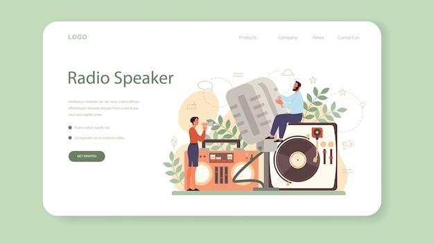 Professional speaker, commentator or voice actor web banner or landing page Premium Vector