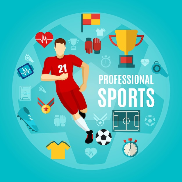 Professional sports flat icon set Free Vector