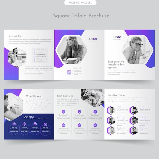 Professional square trifold brochure Premium Vector