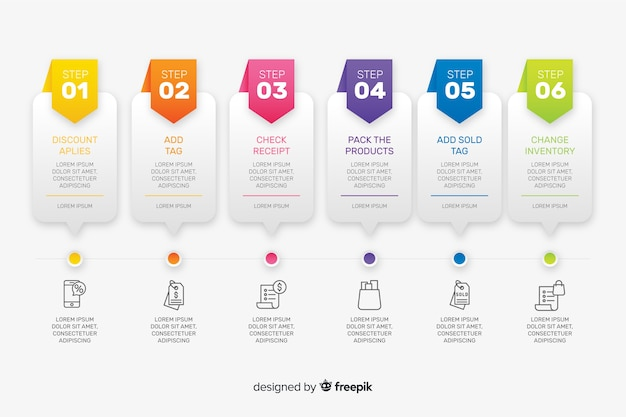 Professional steps infographic Free Vector