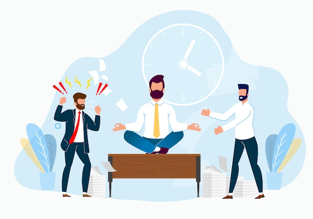 Professional stress management at work cartoon. Premium Vector