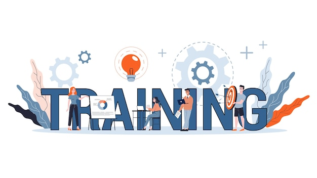 전문 교육 개념. 교육 및 코칭에 대한 아이디어. 개인 개발 및 성장. 웹 배너. 삽화 프리미엄 벡터