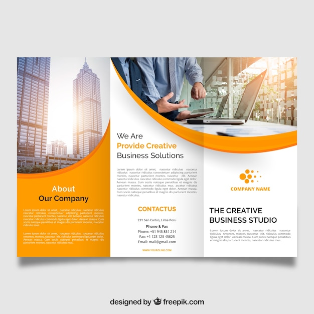 Professional wavy trifold brochure Free Vector