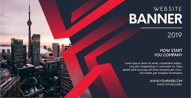 Professional website banner with abstract red shapes Free Vector