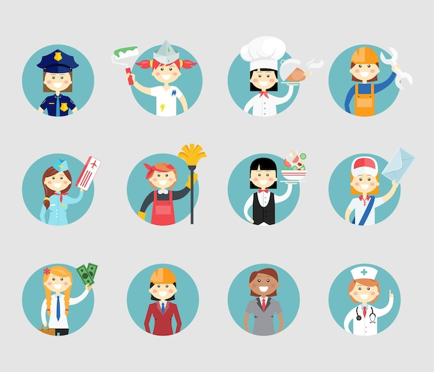 Professional women avatar set on round web buttons a police sergeant  painter  chef  mechanic  air hostess  cleaner  waitress  postal worker  businesswoman  architect and doctor Free Vector