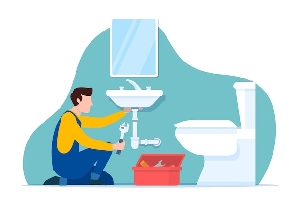 Professional worker fixing the bathroom Free Vector