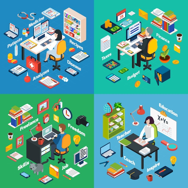 Professional workplace isometric icons square Free Vector