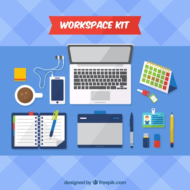 workspace with flat design free vector