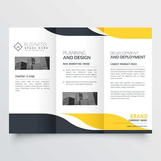 Professional yellow black modern trifold brochure design Free Vector