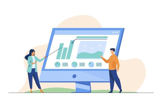 Professionisti che analizzano i grafici sul monitor del computer. Vettore gratuito