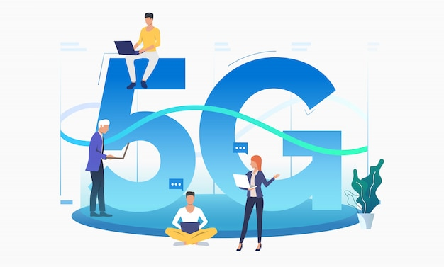 Professionals using high speed 5g network Free Vector