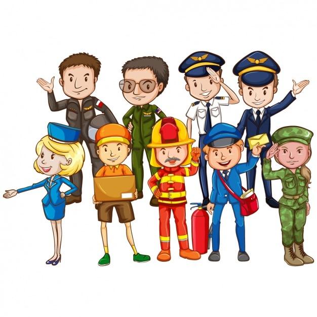 Professionals wearing their uniforms Premium Vector