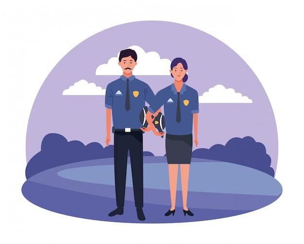 Professionals workers couple smiling cartoons Premium Vector