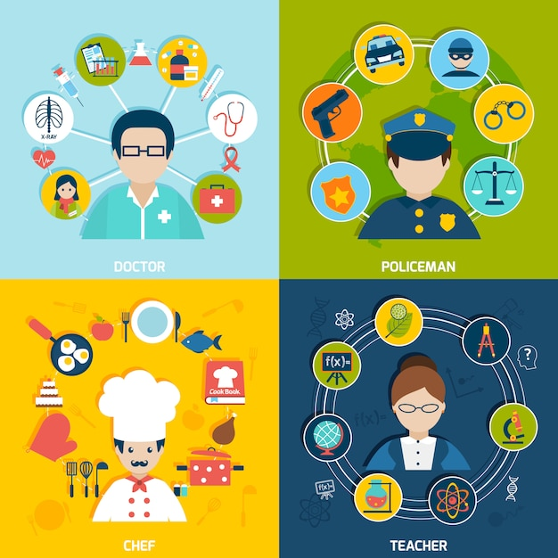 Professions avatars with elements composition set Free Vector