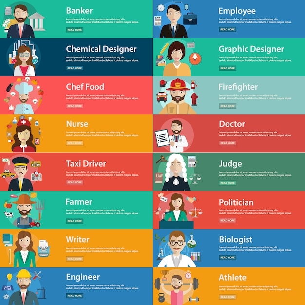Professions banners collection Free Vector