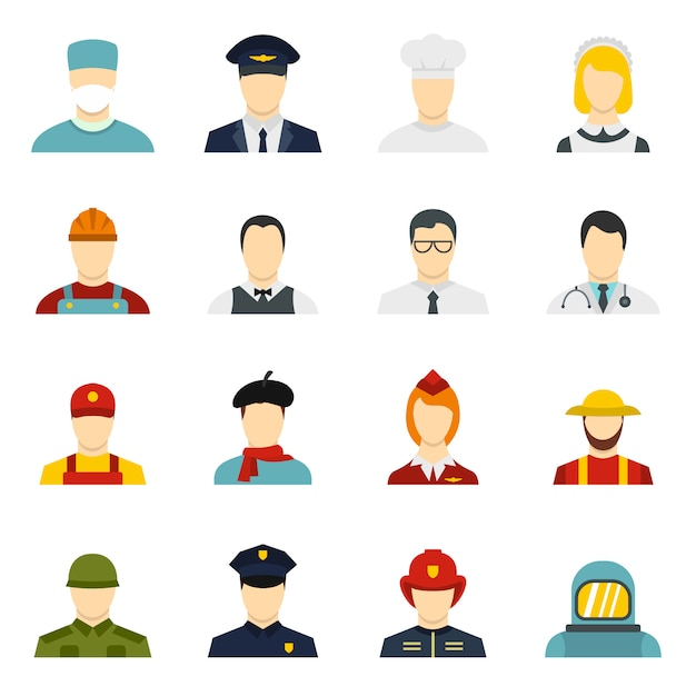 Professions icons set in flat style Premium Vector