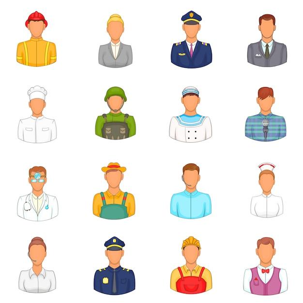 Professions icons set Premium Vector