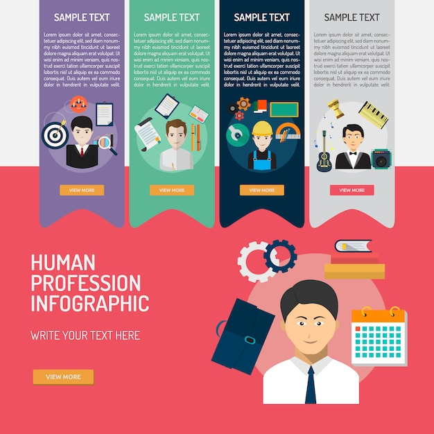 Professions infographic template