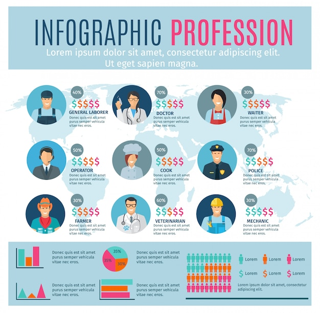 Professions infographics set with charts and\ world map on background