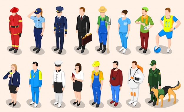 Professions isometric people set Free Vector