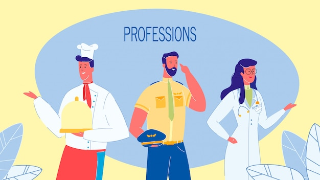 Professions, jobs vector web banner with text Premium Vector