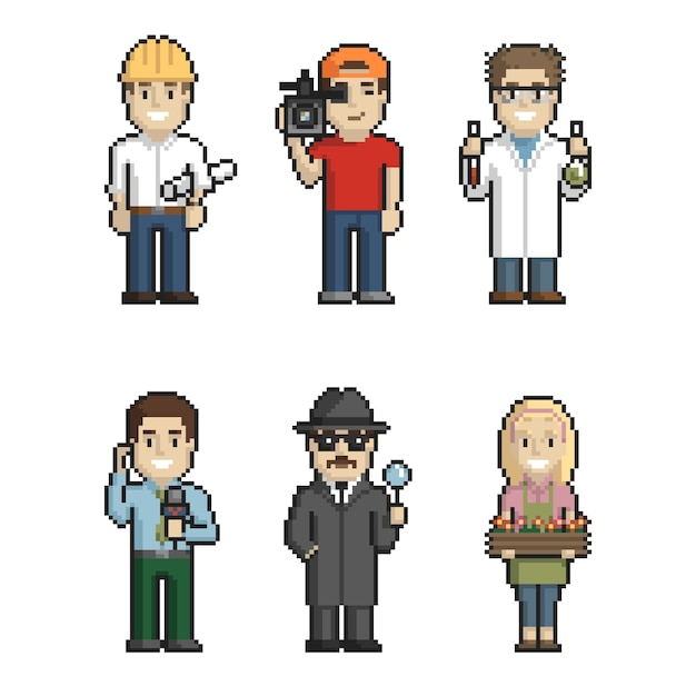 Professions pixel art on white background 1. vector illustration Premium Vector