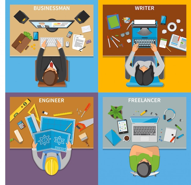 Professions top view 2x2 design concept Free Vector