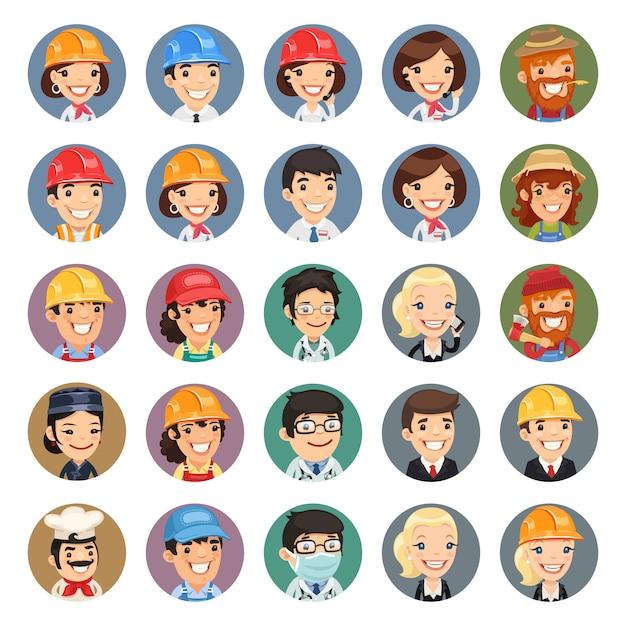 Professions vector characters icons set Premium Vector