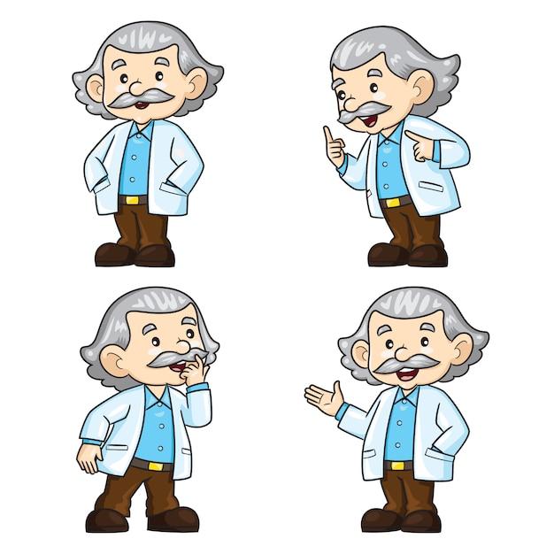 Профессор мультфильм Premium векторы