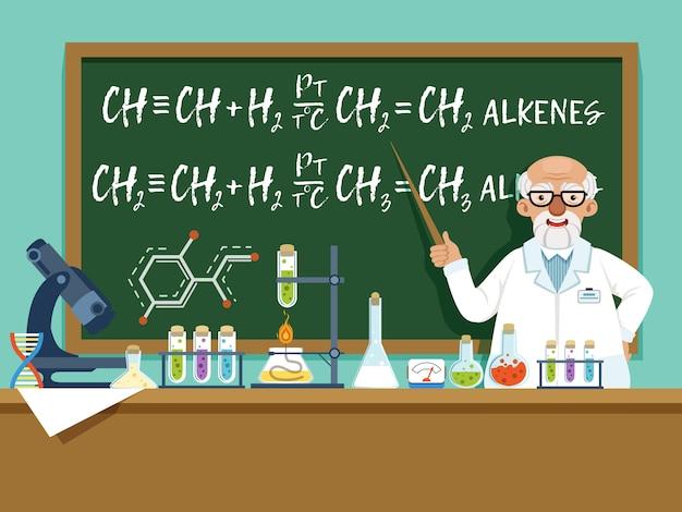 Professor in his laboratory for experiments Premium Vector