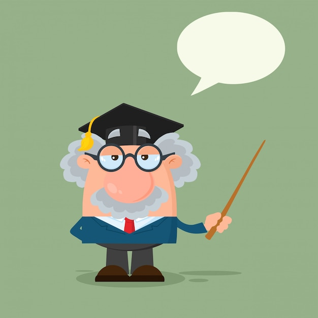 Professor or scientist cartoon character with graduate cap holding a pointer Premium Vector