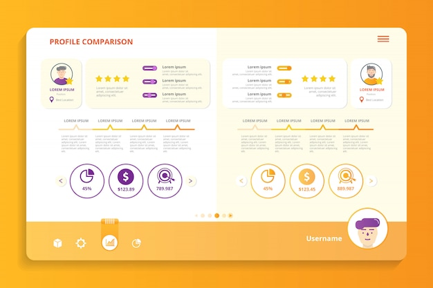 Profile comparison infographic template Premium Vector