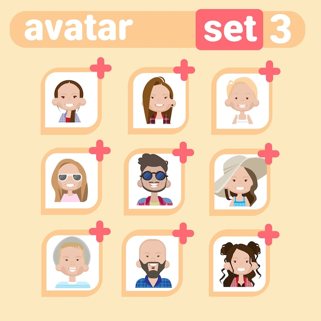 Profile male and female avatar set, man woman cartoon portrait, casual person face collection Premium Vector