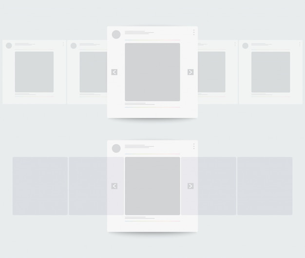 Profile of mobile page with horizontal scrolling. Premium Vector