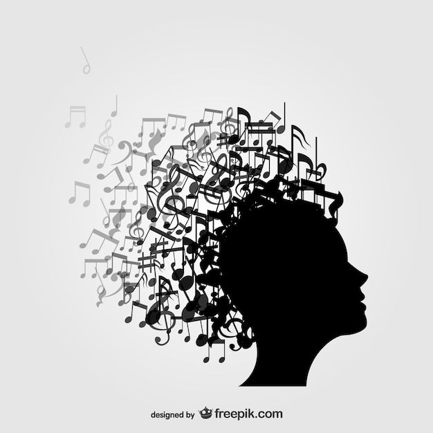 Profile music notes background Free Vector