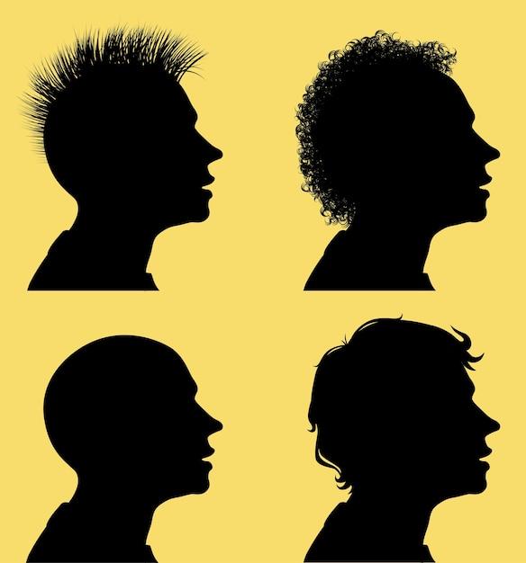 Профильные силуэты мужских голов с разными прическами Premium векторы