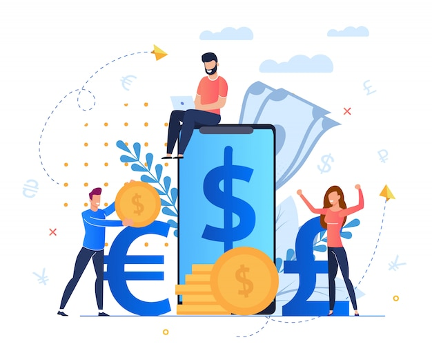 Profit from currency exchange services cartoon. man sits on screen large smartphone. Premium Vector